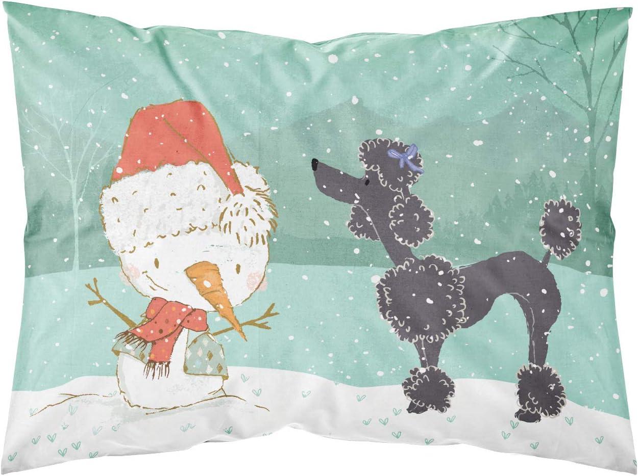 Caroline's Treasures CK2064PILLOWCASE Black Poodle Snowman Christmas Fabric Standard Pillowcase, Standard, Multicolor