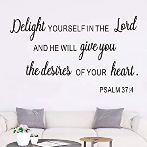 AnFigure Bible Verse Wall Decal, Biblical Wall Decals, Church Prayer Quotes Scripture Home Art Decor Vinyl Stickers Delight Yourself in The Lord and He Will Give You The Desires of Your Heart 20