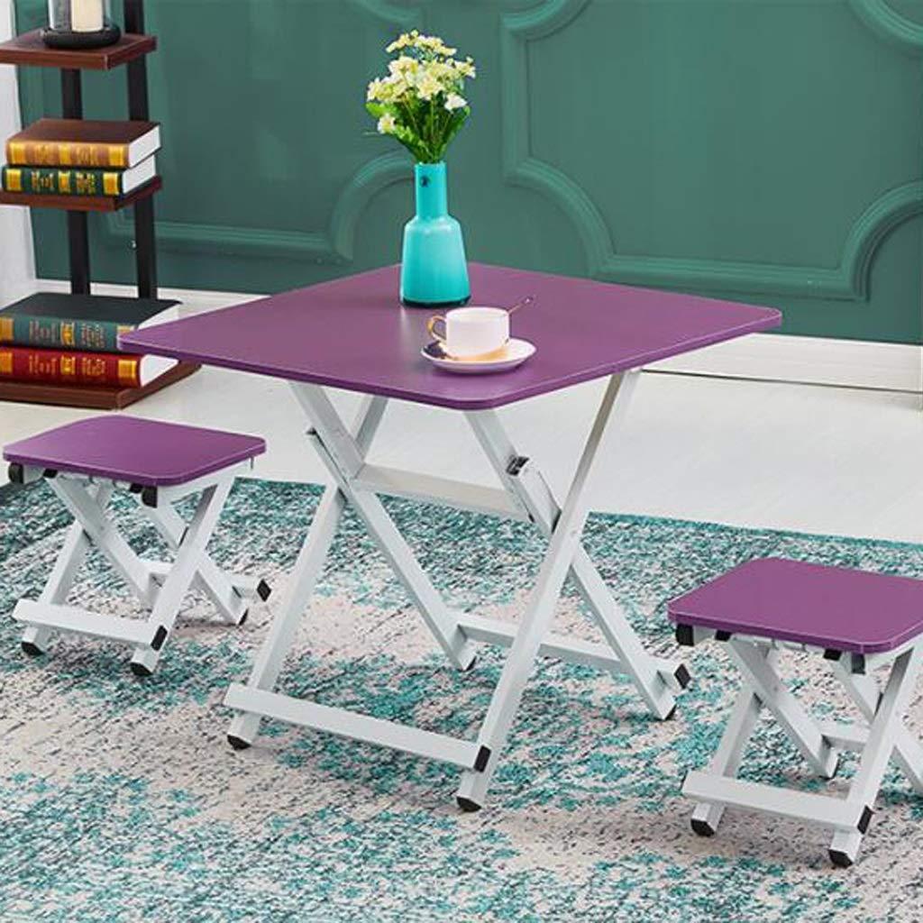 小さな折りたたみ式テーブル長方形のテーブル、60×60 cm、家庭用/生徒用デスク折りたたみ式テーブル用のシンプルなダイニングテーブル,Purple B07SMQ7JHZ Purple