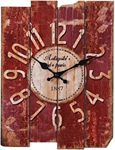 T-ROOM H15 Country Style Vintage Wall Clock Home Decor Wood Wall Clock (MDF) (Red)