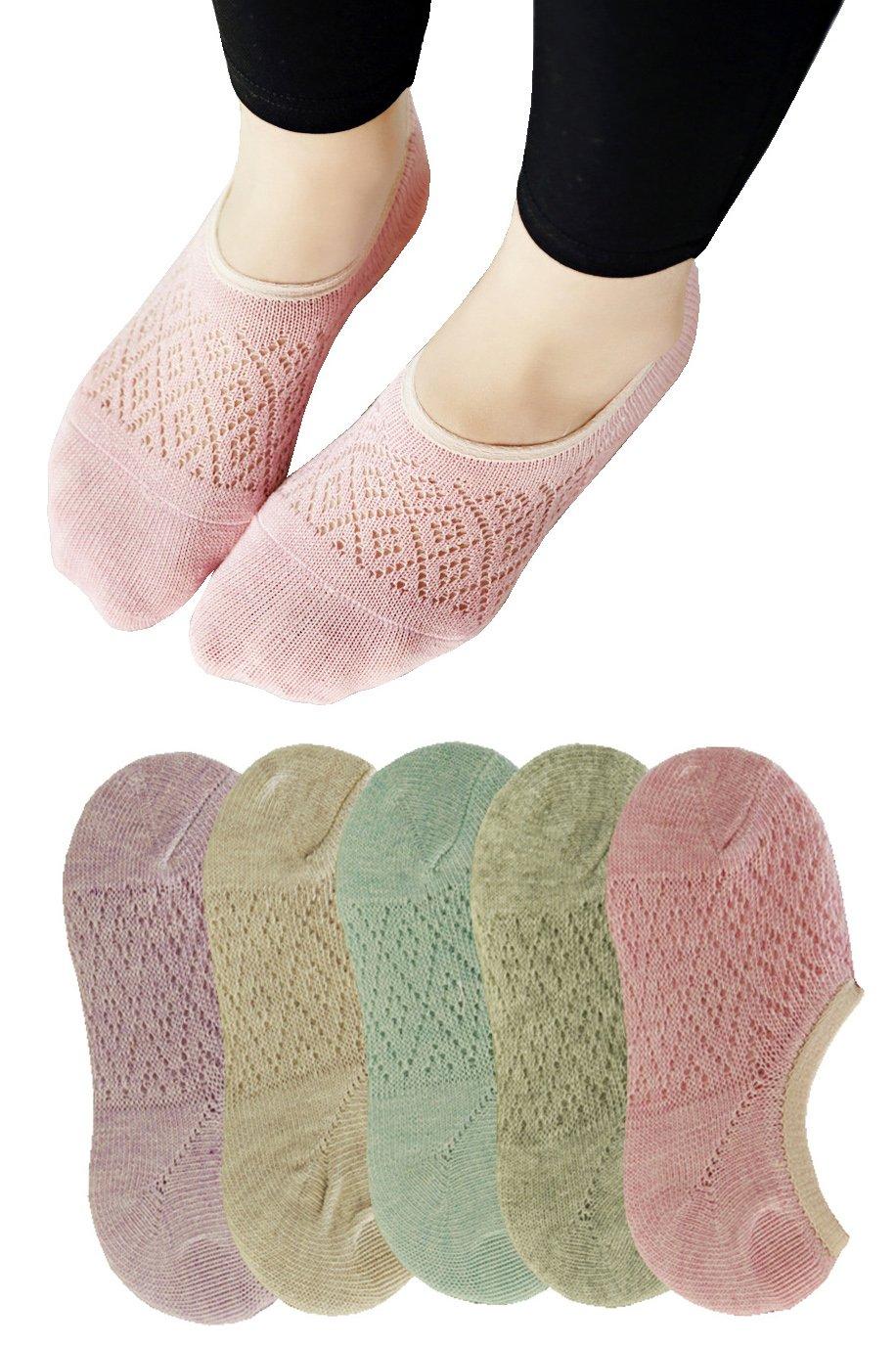 Searchself Women's Fashion Parent Mesh Thin No Show Fun Boat Liner Socks 5 Pack