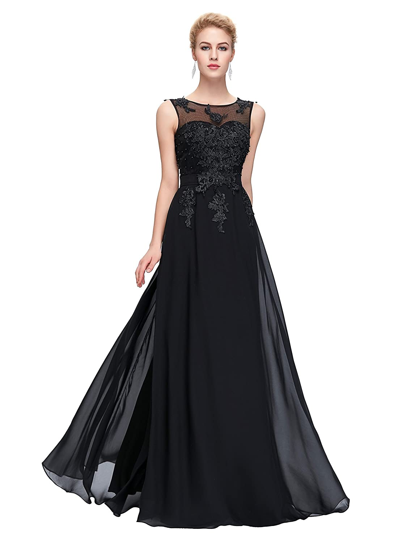 Amazon.com: GRACE KARIN Chiffon V Back Evening Dresses Prom Gown ...