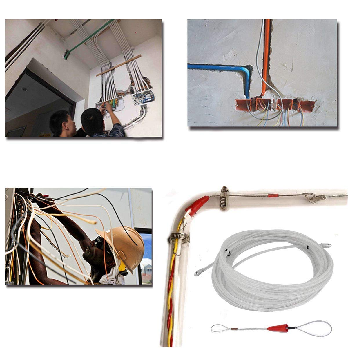 RUNCCI Guia Pasacables guia para pasar cables Guias Pasacables- Cable de Alimentaci/ón El/éctrico-Guia pasacables 15M Kit de Enhebrado de Cables