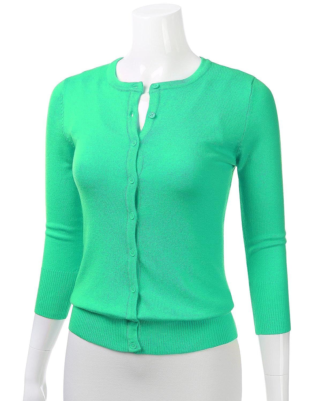 FLORIA Womens Button Down 3  4 Sleeve Crew Neck Knit Cardigan Sweater   (S-3X ) FSW024 83cf97adc
