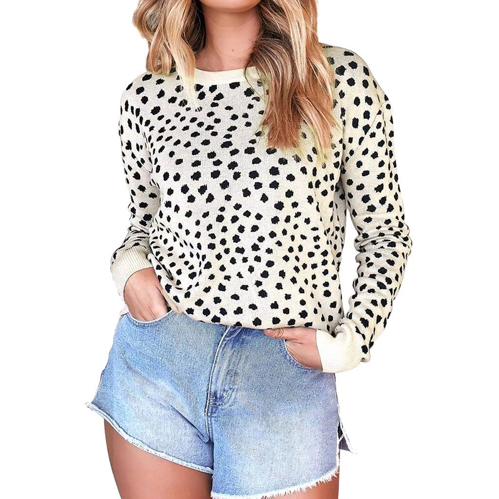WUAI-Women Autumn Winter Casual Leopard Pullover Long Sleeve Sweatshirts Top Blouse(Khaki,Large by WUAI-Women