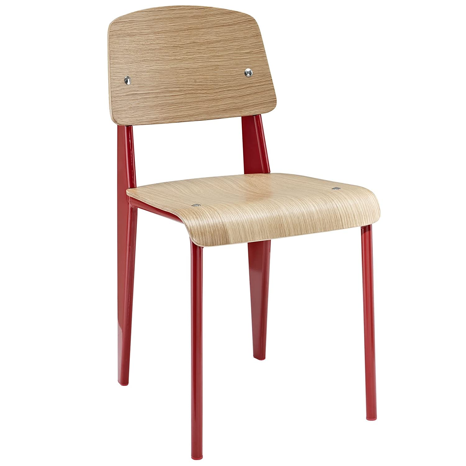 Amazon.com: Modway Jean Prouve Style Standard Chair, Natural Red: Kitchen U0026  Dining