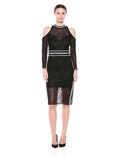 Tadashi Shoji Womens Cld Shldr Lace Midi Dress With Knit
