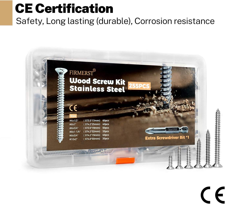 FIRMERST Edelstahl Holzschrauben Sortimentskit 255 St/ück CE-zertifiziert
