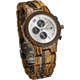 JORD Wooden Wrist Watches for Men - Conway Series Chronograph / Wood and Metal Watch Band / Wood Bezel / Analog Quartz Movement - Includes Wood Watch Box (Zebrawood & Dark Sandalwood)