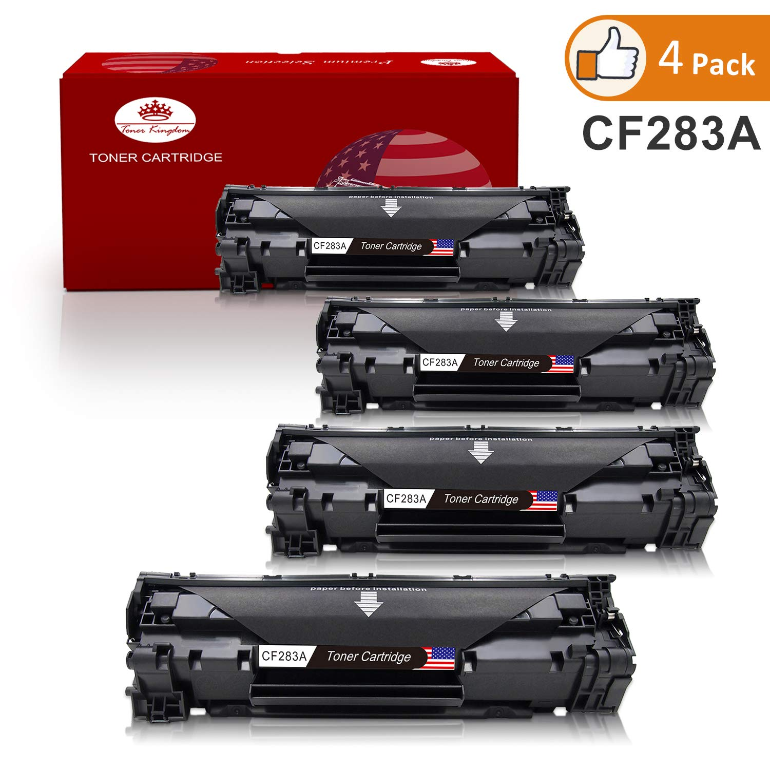 83a Cf283a Toner Cartridge Black 4pack Kingdom Hp Compatible Replacement For Used In Laserjet Pro Mfp M127fn M125a M201n M201dw M225dn