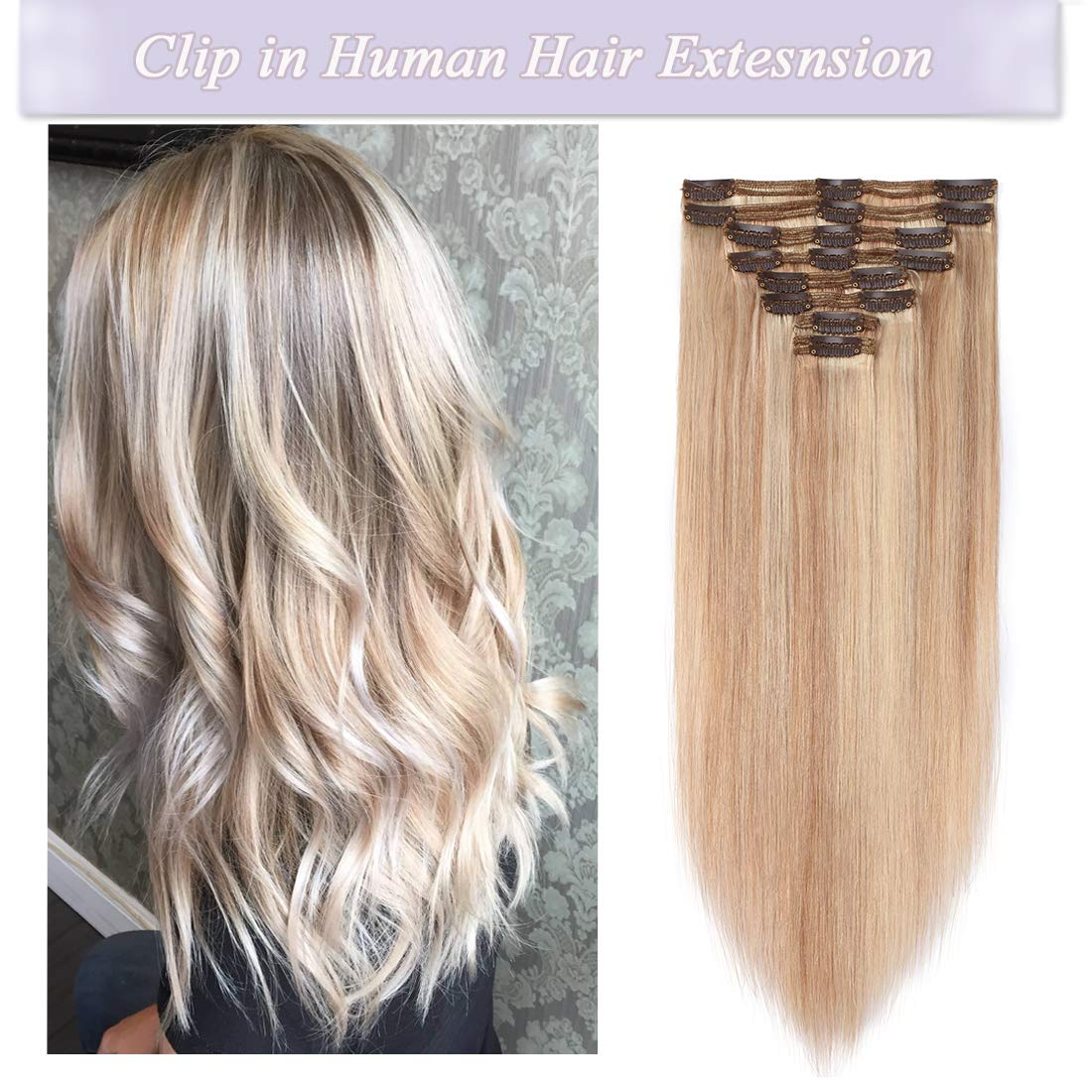 s-noilite Clip in Human Hair Extensions 100% Real Remy Thick True Double Weft Full Head 8 Pieces 18 clips Straight silky (18 inch - 140g,Ash Blonde/Bleach Blonde (#18/613)) by S-noilite