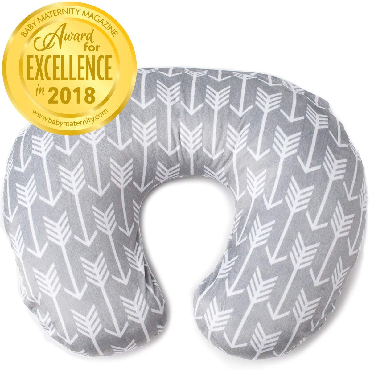 Minky Nursing Pillow Cover | Arrow Pattern Slipcover | Best for Breastfeeding Moms | Soft Fabric Fits Snug On Infant Nursing Pillows to Aid Mothers While Breast Feeding | Great Baby Shower Gift by Kids N' Such