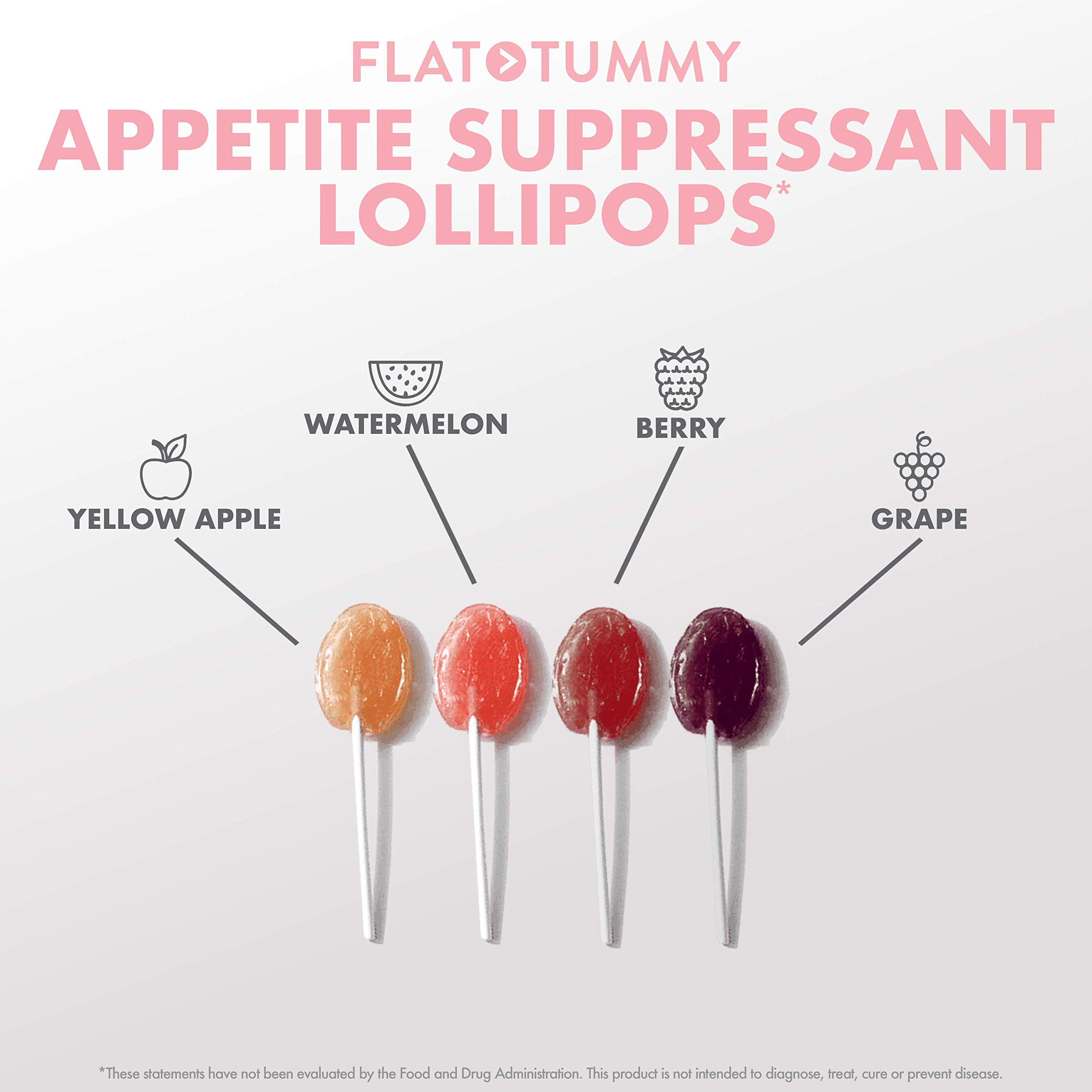 Flat Tummy Appetite Suppressant Lollipops | The Best All Natural Suckers, 4 Great Flavors + Apple, Grape, Watermelon & Berry + Suppress Cravings, The Perfect Low Calorie Diet Candy by Flat Tummy Co. (Image #5)
