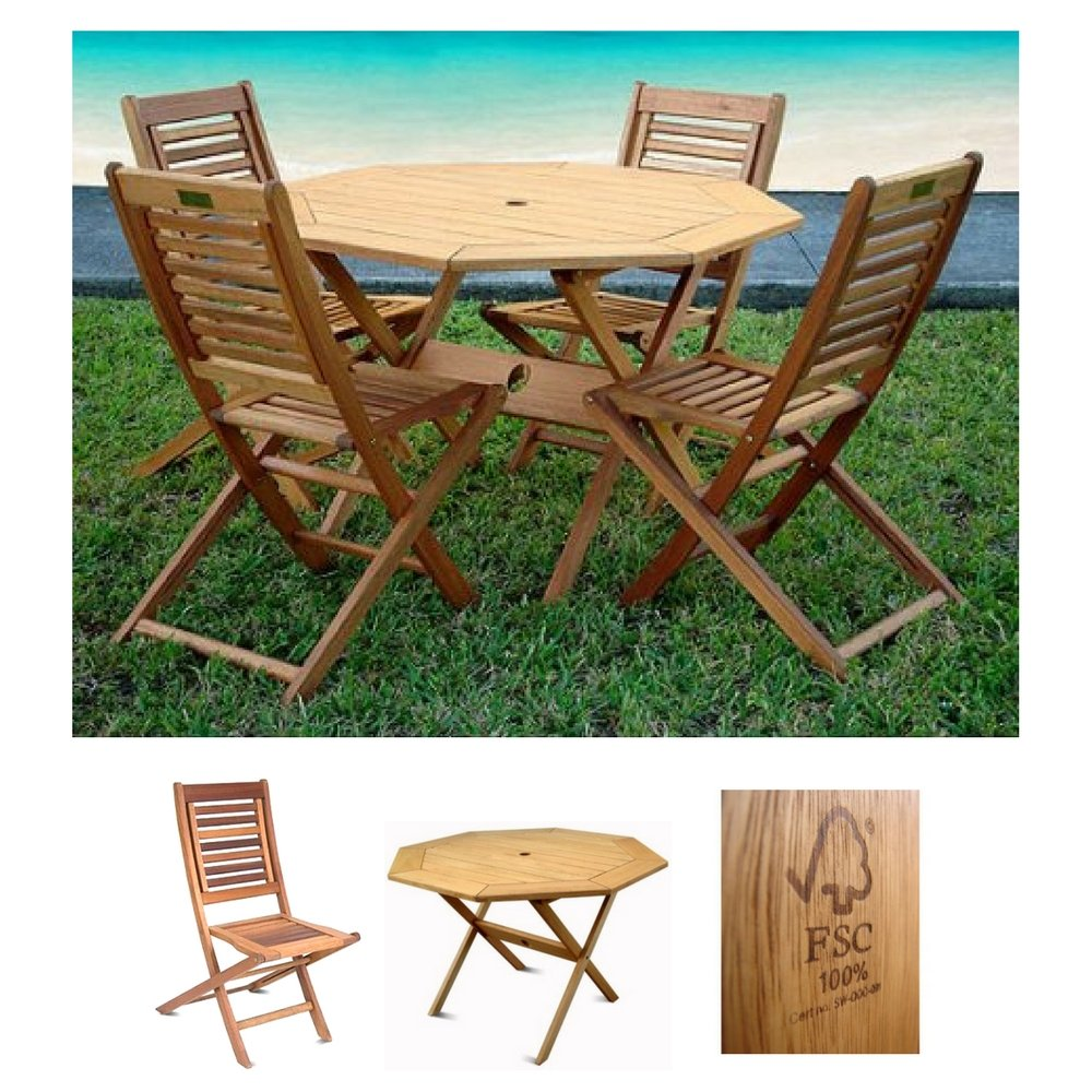 Milano 100 fsc eucalyptus wood set of four folding chairs with octagonal table amazonia patio garden furniture brown finish outdoor indoor