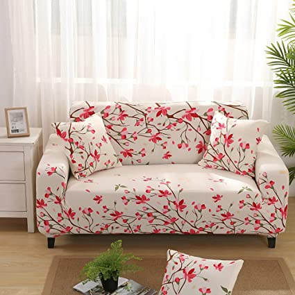 Amazon.com: Retro Flower Print Stretch Elastic Slipcover Sofa Covers ...