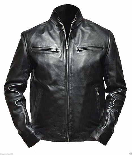 Fab Leather Mens Genuine Lambskin Bomber Biker Leather Jacket