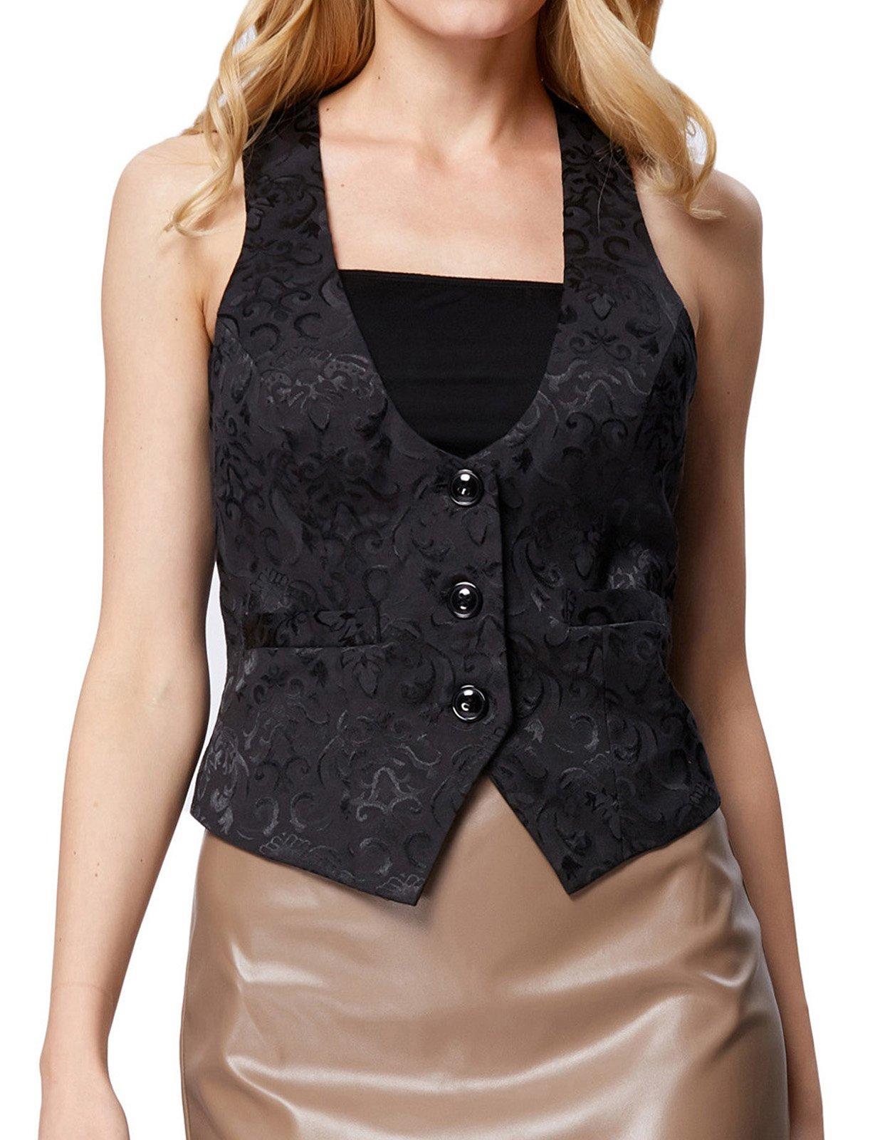 GRACE KARIN Ladies Victorian Gothic Waistcoat Coats Sleeveless Blazer(XL, Black 677)