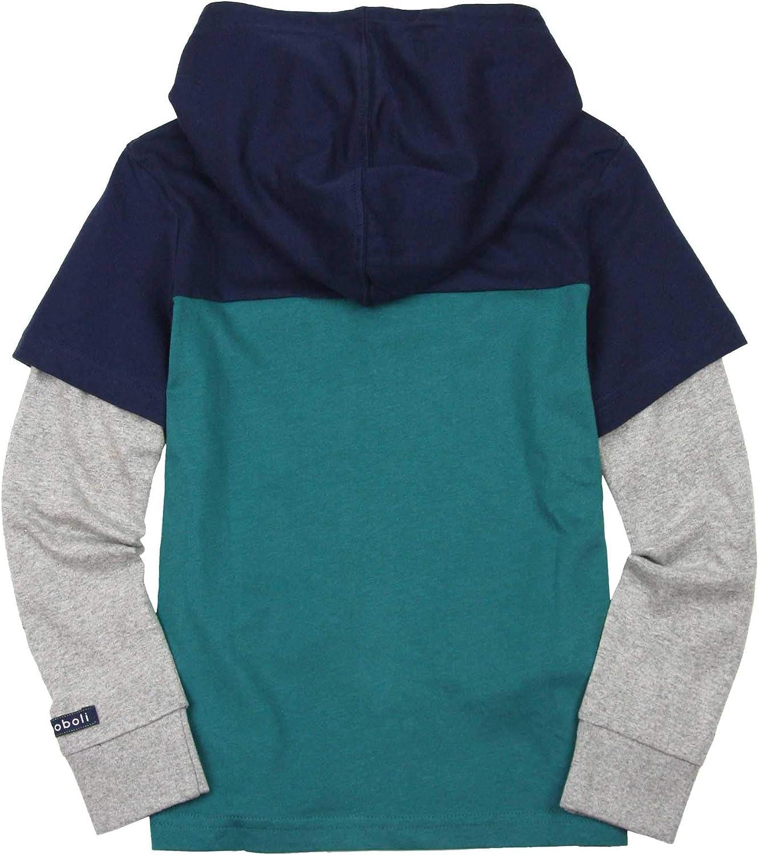 Sizes 4-16 Boboli Boys Hooded T-Shirt in Layered Look