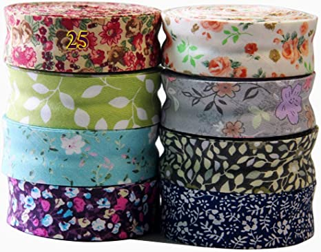 Craft Pink Flowers Pattern. Clothing Quilting Notions in 1-6yd strips Handmade 1 inch Double Folded Cotton Bias Binding Tape Sewing