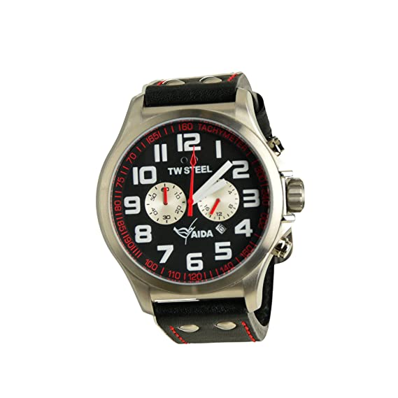 TW Steel Hombre Reloj de pulsera Pilot Aida Collection Cronógrafo Negro Fecha TW de 882 UVP