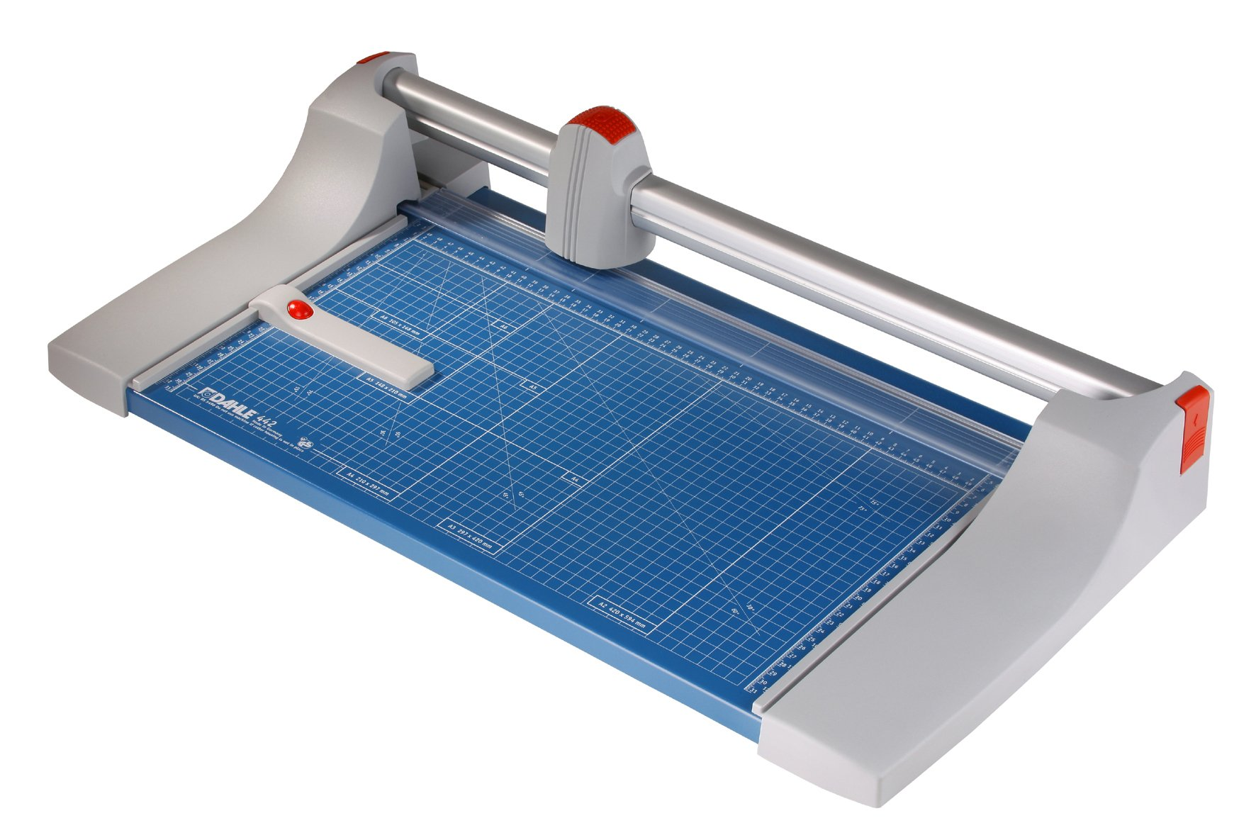 Dahle 442 Premium Rolling Trimmer, 20'' Cut Length, 30 Sheet, Precision Self-Sharpening Blade, Cuts in Either Direction, Automatic Paper Clamp