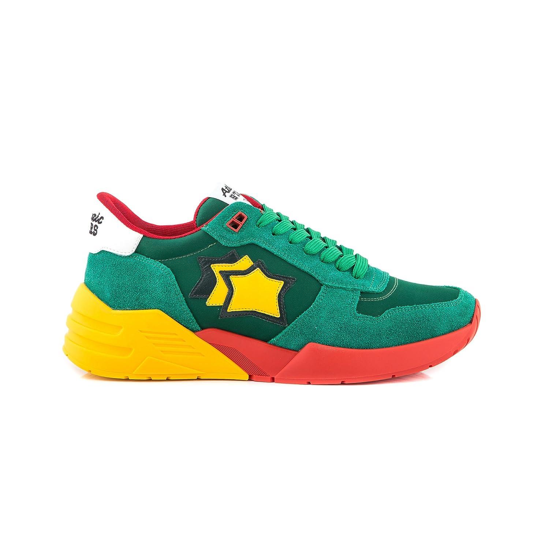 Atlantic Stars Zapatillas de Piel Para Hombre Verde Verde-Giallo-Rossa 43 EU
