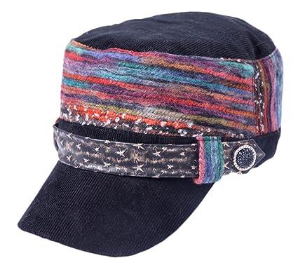 c6167b2366b8b Women s Baseball Cadet Cap Flat Top Hat Adjustable With Star Leather Radar  Caps - Black -