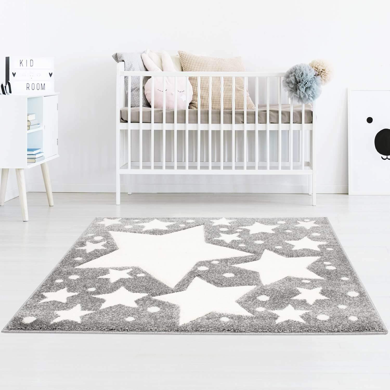 Taracarpet Kinderzimmer und Jugendzimmer Teppich Dreamland Kinderzimmerteppich Sterne grau Creme 120x120 cm rund B07N7TDWHQ Teppiche
