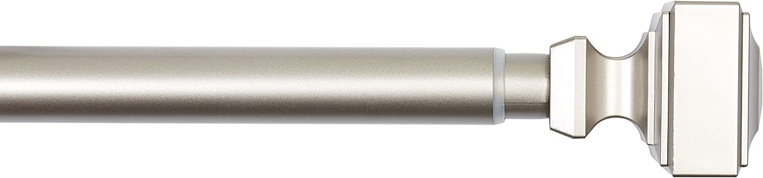 "AmazonBasics 1"" Wall Curtain Rod with Square Finials, 36"" to 72"", Nickel"