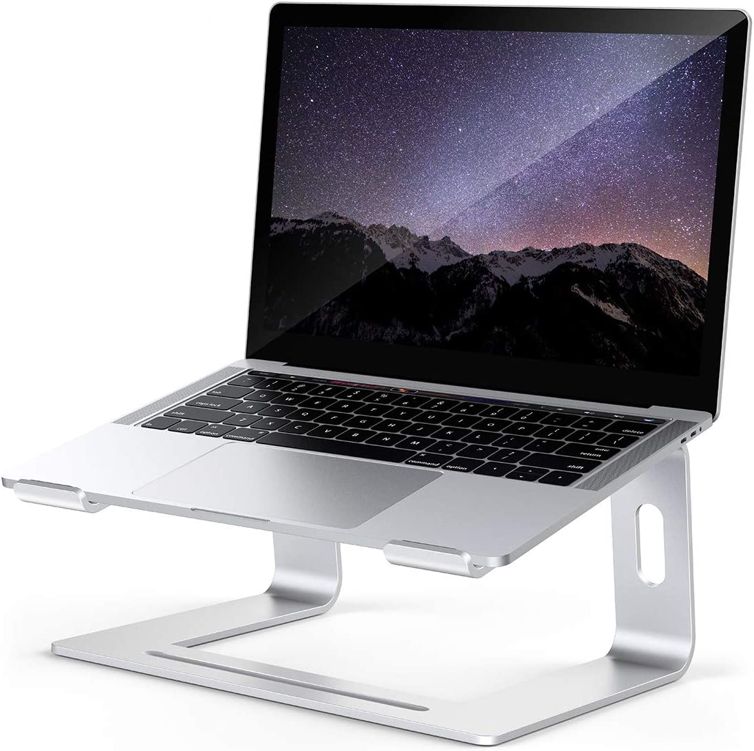 Laptop Stand, Computer Stand, Ergonomic Aluminum Computer Laptop Stand for Desk, Laptop Riser, Laptop Holder Compatible with MacBook Pro Air, Lenovo, HP, Dell, More 10-17 inch Notebook, Silver