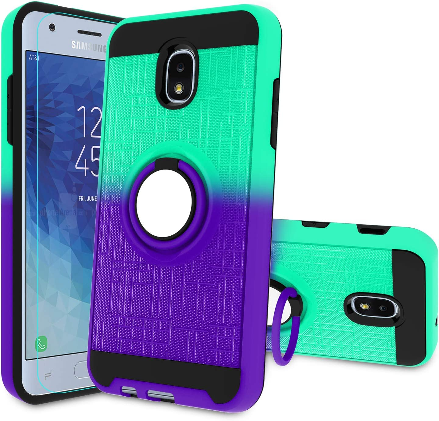 Atump Galaxy J3 2018 Case with HD Screen Protector, Ring Holder Kickstand Phone Cover for Samsung Galaxy J3 Achieve/Amp Prime 3/J3V/Express Prime 3/J3 Star/Sol 3/J3 Orbit/J3 Aura/J3 2018 Mint/Purple