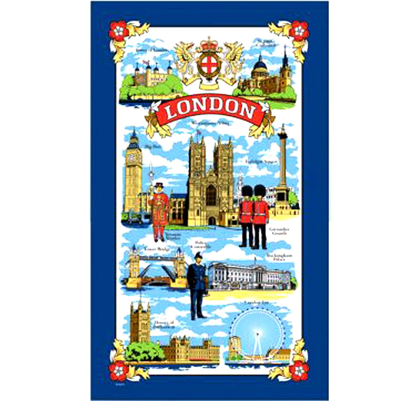 London Landmarks Scenes Tea Towel Souvenir Gift Historical Red Telephone Box Big Ben Tower Bridge St Pauls Cathedral Nelson by Elgate