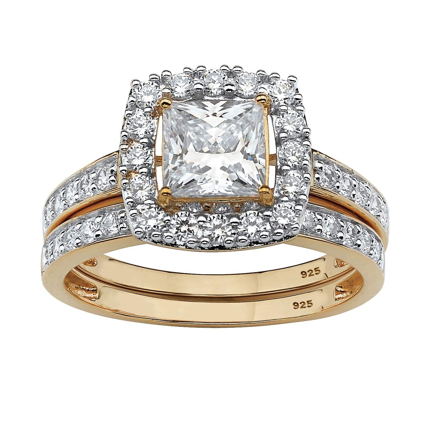 18K Yellow Gold over Sterling Silver Princess Cut Cubic Zirconia Halo Bridal Ring Set Size 8 by Palm Beach Jewelry