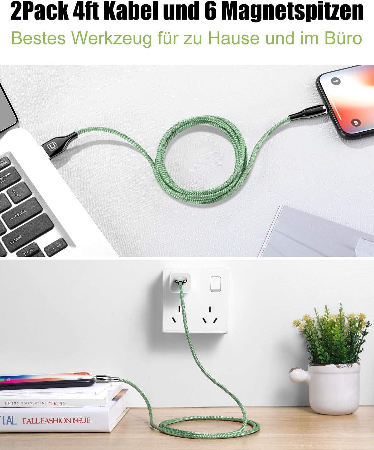 Cafele Zinklegierung 5A Magnetic Datenkabel Ladekabel 2St/ück, 1,2M f/ür Micro USB//Type C//i0s//CellPhone Gr/ün Magnetisches USB Kabel 3 in 1 Magnet Ladekabel Nylon Magnetisch Sync und Schnellladekabel