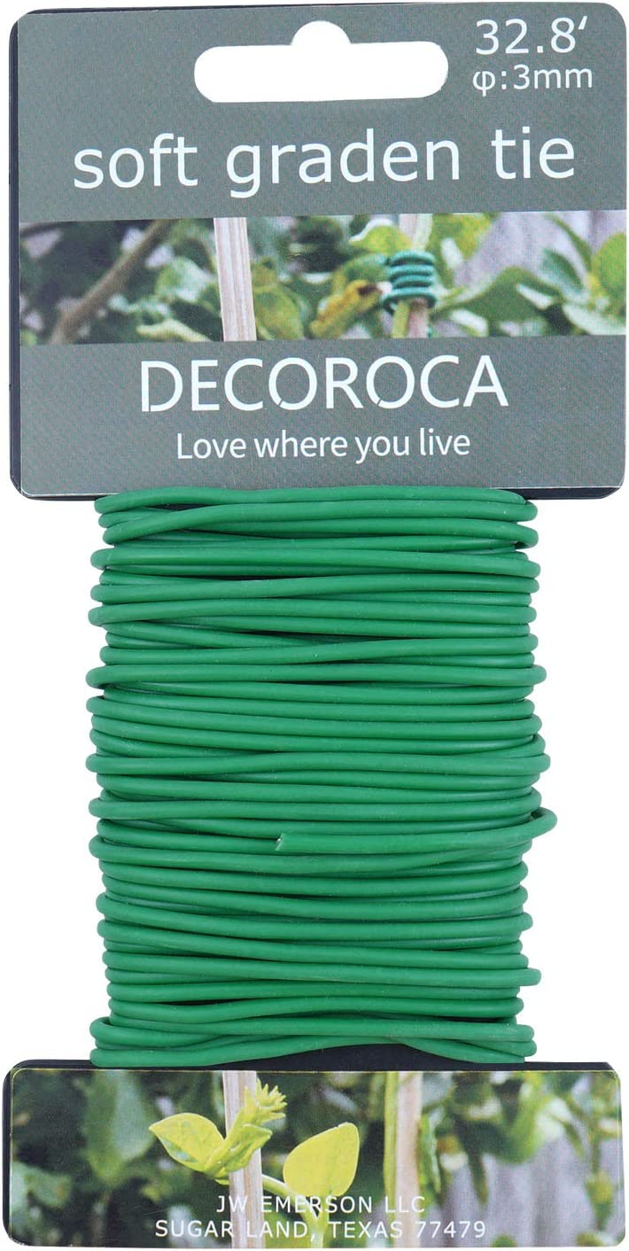 Decoroca Garden Flexible Tie, Soft Twist Plant Ties 32.8' - Green Support Plant Wire, Durable Heavy Duty Vines, Stems & Stalks…