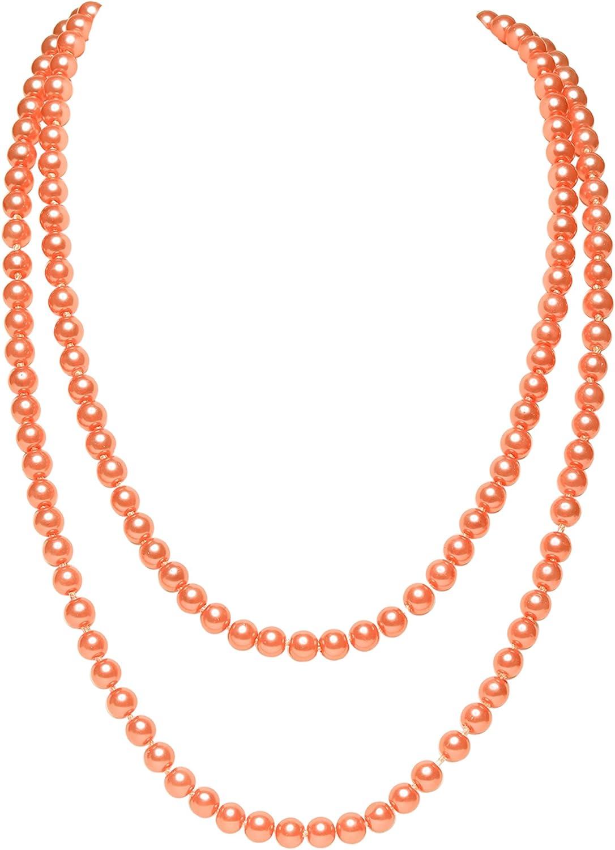 """ArtiDeco Gatsby Collar de Perlas Largo Vintage Flapper Accesorios Perlas de Imitación Collar de Perlas 55"""""""