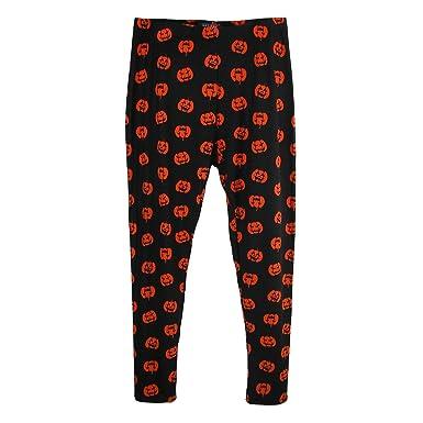 e448472c8e15e Just One Women s Plus Size Pumpkin Print Halloween Leggings Black at Amazon  Women s Clothing store