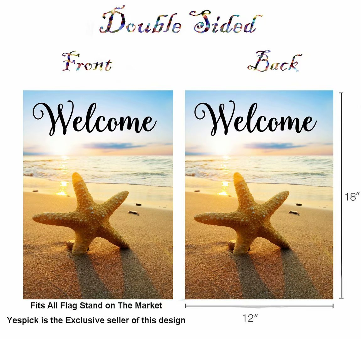 ShineSnow Beach Starfish Summer Autumn Garden Yard Flag 12''x 18'' Double Sided, Holiday Seashore Sunset Tropical Polyester Welcome House Flag Banners for Patio Lawn Outdoor Home Decor by ShineSnow (Image #2)