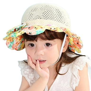 LAATBaby Toddler Straw Hat Summer Sun Cap Baby Sunscreen Hat Beach Cap  SummerMesh Hat Anti Sun e64234e76db