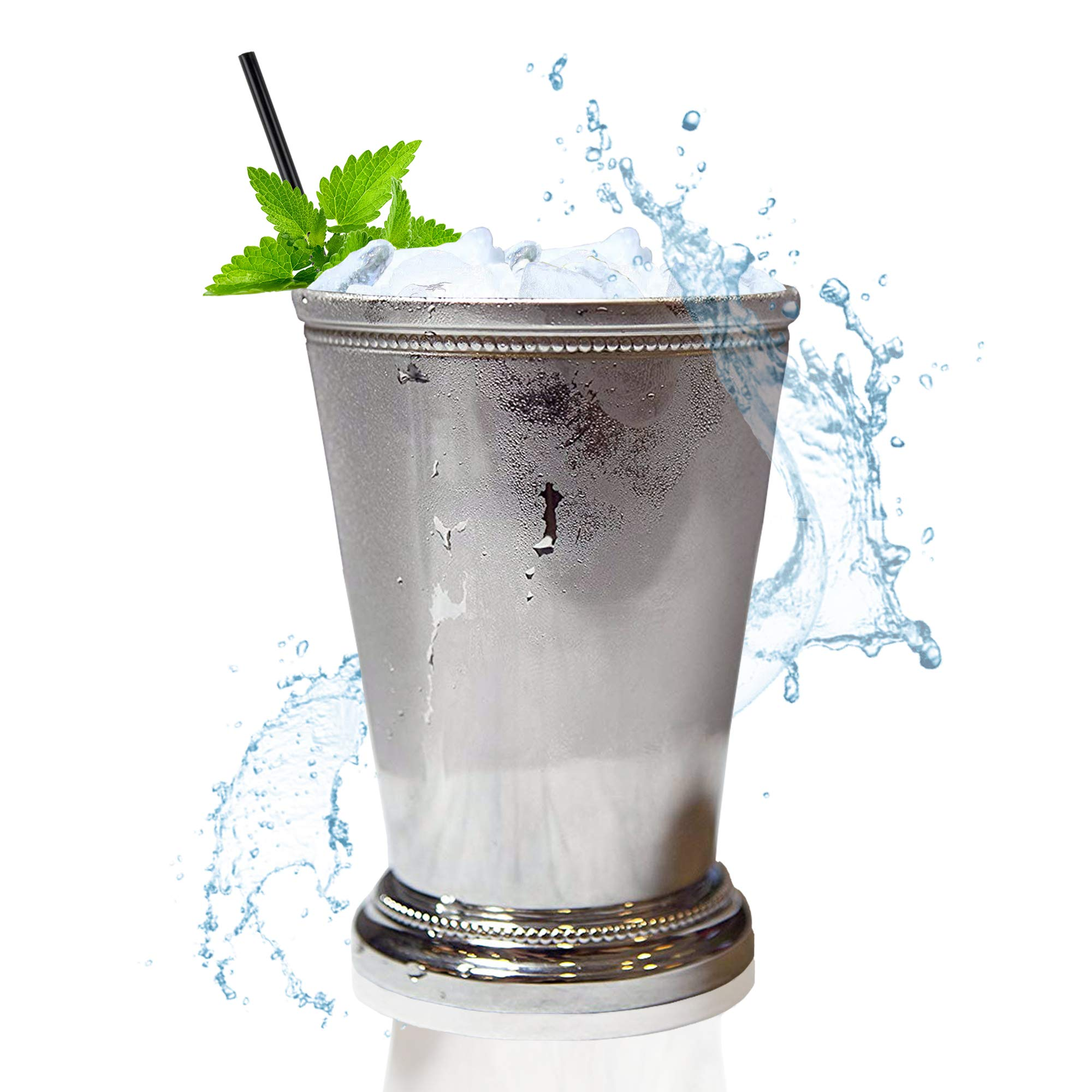 Mint Julep Cup - 12 Oz, Solid Aluminum Nickel Plated Beautifully Beaded Trim Edging Mint Julep Cups Capacity 12 Ounce for Drink Mix!