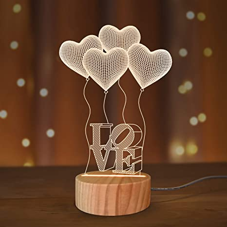 Love 3D Illusion Lamp LED Night Light with Warm White Colors,for Girl Wife Holiday Romantic Meaningful Gift