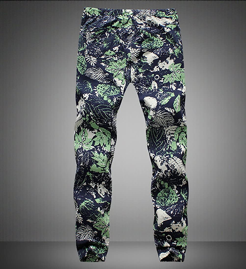 Pantaloni Uomo Eleganti Lunghi Moda Stampato Floreale Casual Vintage Stile Etnico Hippie con Coulisse Lino Pantalone