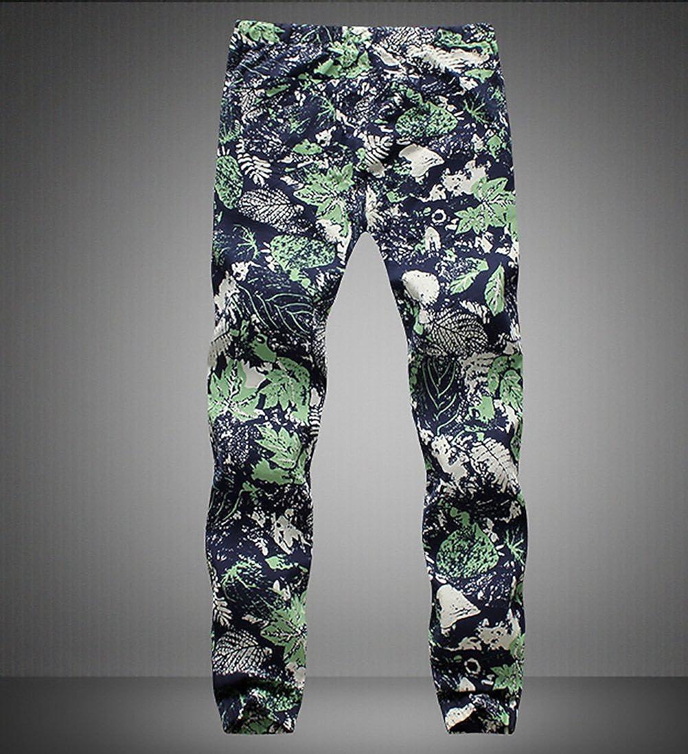 BOLAWOO Pantalon Lino Hombre Fashion Flores Estampado Vintage Etnicas Estilo Casuales con Cord/ón Pantalones Hippies