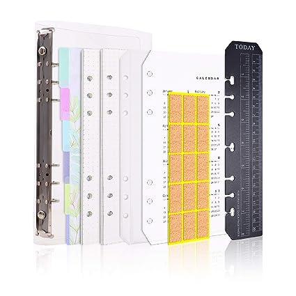 Larcenciel A5 Cuaderno,6 anillos recargables cuaderno, diario, planificador personal, diario de viaje, agenda, portada, bloc de notas+90 Insertar ...