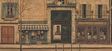 Retro French City Street Shops Vintage Wallpaper Border For Bathroom
