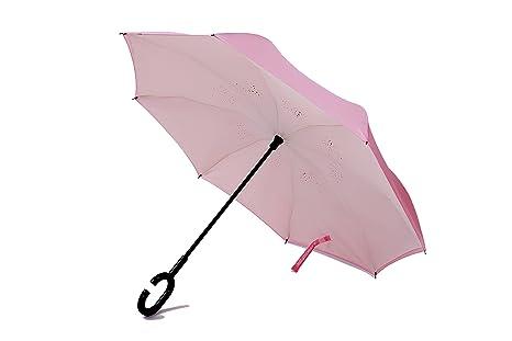 """Paraguas invertido de doble capa, con un Mango en Forma de """"C"""" y"""