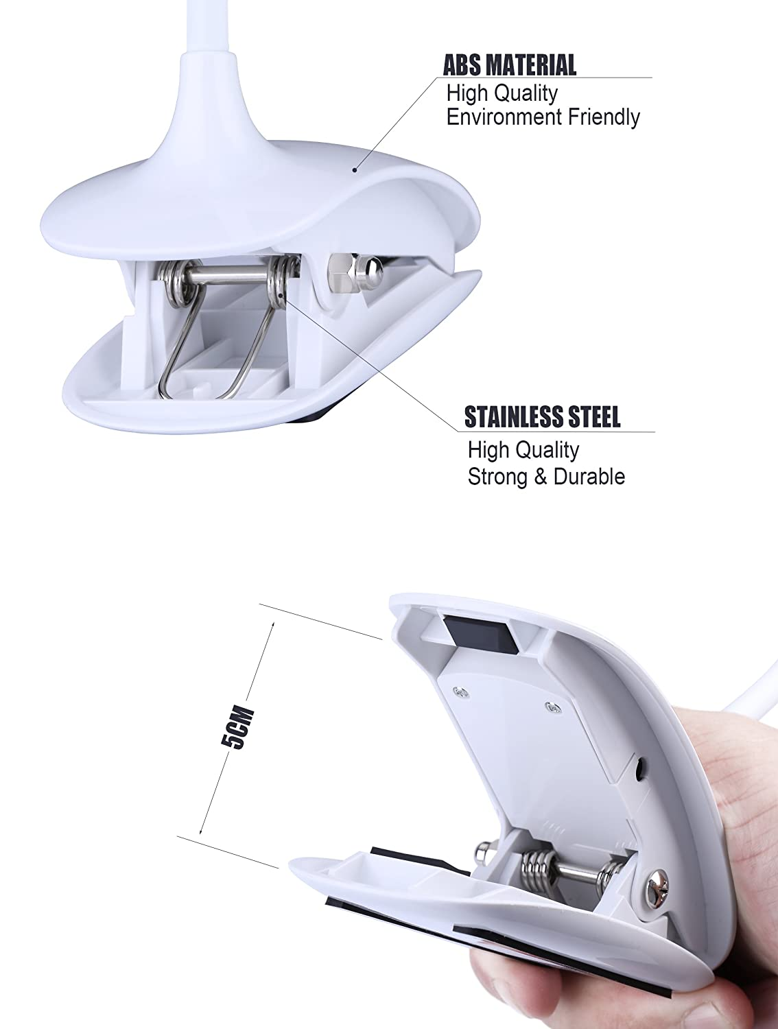 Qoolife Touch Sensitive Wireless Rechargeable Clamp on 14 LED Beads Desk Lamp//Reading Light//Book Light with 3 Level Eye Care Brightness Lampada da tavolo