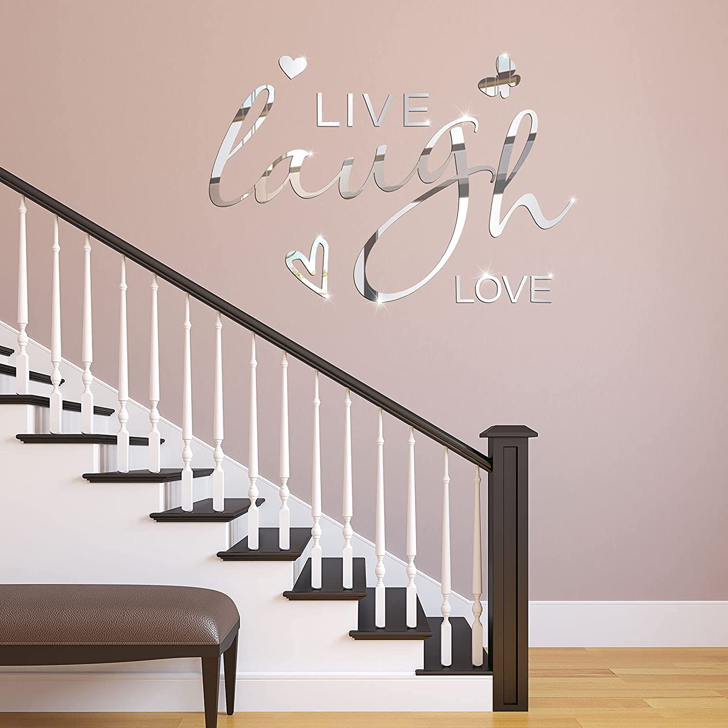 3D Acrylic Mirror Wall Decors Laugh Love Wall Stickers Removable Letters Quotes Decals Butterfly Heart Wall Decors DIY Motivational Mirror Wall Stickers for Home Bedroom Kitchen Living Room Dorm