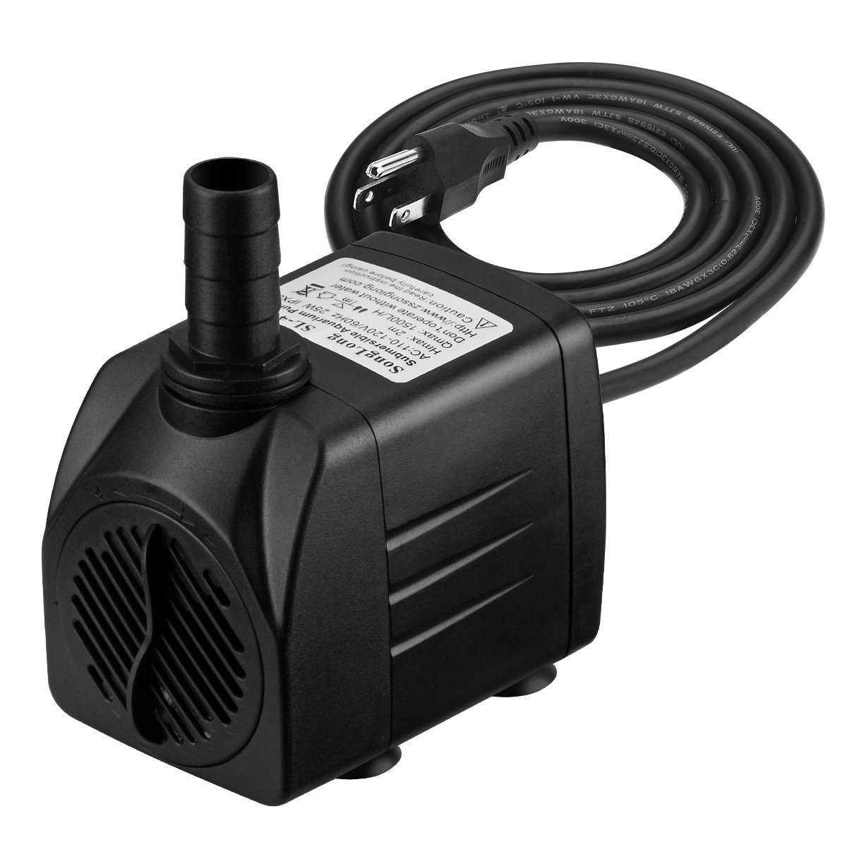 Homasy 400GPH Submersible Pump 25W Ultra Quiet Fountain Water Pump with 5.9ft Power Cord, 2 Nozzles for Aquarium, Fish Tank, Pond, Hydroponics, Statuary