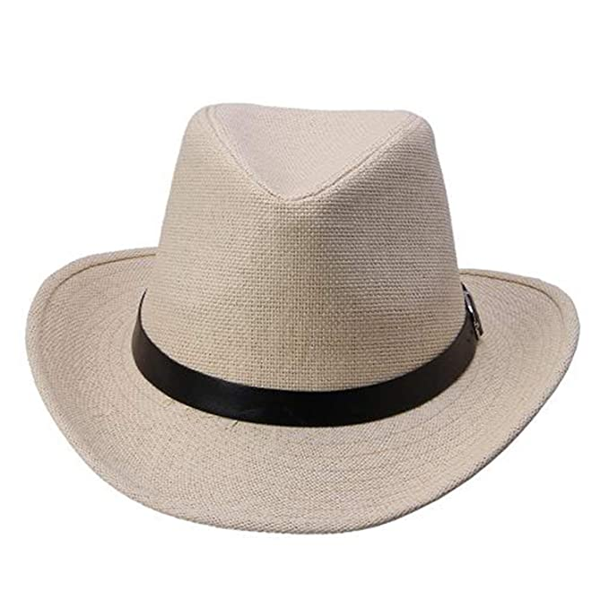 a9a40f7c7a7 Tiehan 6 Colors Summer Men Straw Hat Cowboy Hat Men s Sale Beige at ...